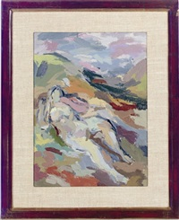 a woman resting in a shadowy valley (tucson etude #5) (+ a companion painting; 2 works) by eugenie baizerman