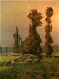 bergers et moutons by louis le poitevin