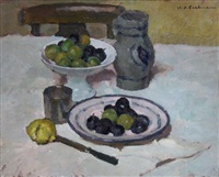 nature morte aux prunes by charles-auguste edelmann