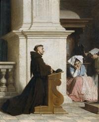 moine en prière dans une église by alfred van (jacques) muyden