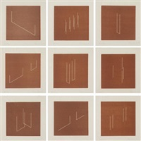 mappe mit 10 umkehrlithographien (portfolio of 10 lithographs) (9 works from the set of 10) by fred sandback