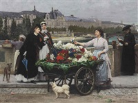 the flower seller on the pont royal with the louvre beyond, paris by marie françois firmin-girard
