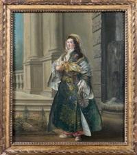 portrait de femme en costume oriental sur la terrasse d'un palais by jean barbault