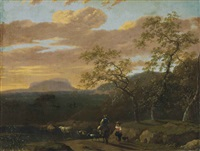 a mountainous river landscape with peasants, cows, goats and sheep by jan gabrielsz sonje
