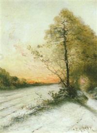paysage d'hiver au soleil couchant by paul morizet