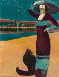 woman with cat by geza farago