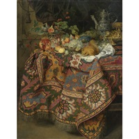 still life with fruit, gold and silver vessels and a squirrel, all on a table covered by a persian rug by guilliam gabron