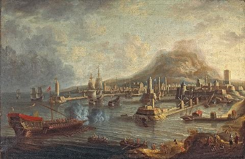 a capriccio of a mediterranean port with ships in a busy harbor by jan peeters the elder