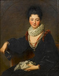 portrait of madame peletier des forts seated in a chair wearing a blue velvet red-trimmed dress, a white ruff and pearls, holding a mask in her right hand by jean-baptiste santerre