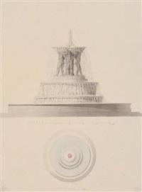 fontaine projetée pour la place louis xv entre le jardin des tuileries et les champs-elysées (+ 3 others; 4 works) by pierre françois léonard fontaine