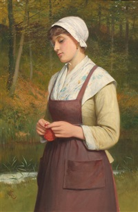 young woman knitting by charles sillem lidderdale