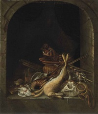 a hare, pheasants, partridge, the head of a boar and other game in an arched stone window, with a hunting horn, a musket, powder kegs and other hunting objects by jacobus biltius
