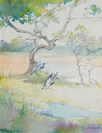 heron alighting by alice ravenel huger smith