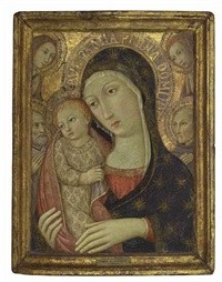the madonna and child with saint bernardino of siena, a male saint and two angels by sano di pietro