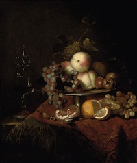 peaches, grapes and pomegranates on a plate, a sliced orange and walnuts on a partly draped table with a wine glass by barend van der meer