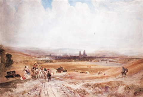 view of rouen with figures in the foreground by samuel austin