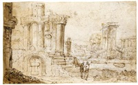 italianate landscape with ruins by jan pynas