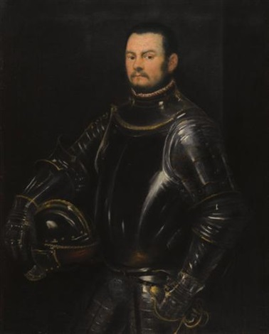 portrait of a young bearded man three quarter length wearing armour by jacopo robusti tintoretto