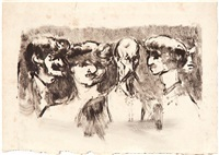 five portrait heads (+ two street wrestlers; 2 works) by adolphe albert