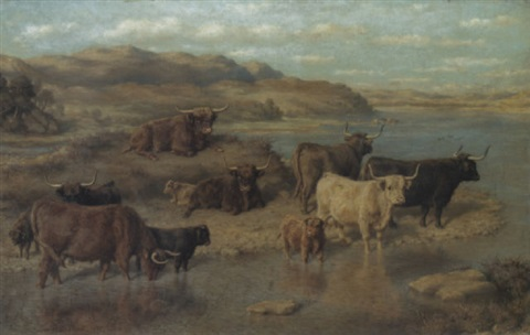 highland cattle by loch striven, strathclyde by david george steell