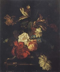 nature morte au vase de fleurs sur un entablement by willem grasdorp