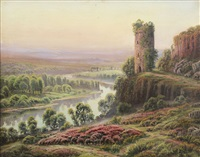 panoramic french creuse river valley view with winding river and castle ruins by gaston anglade