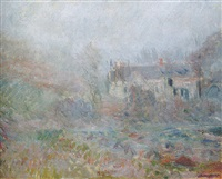 maisons à falaise, brouillard by claude monet