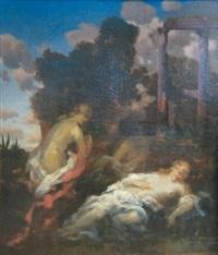 deux femmes dans un paysage à l'antique by marie-abraham rosalbin de buncey