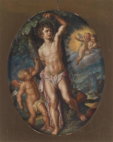 engel versorgen den gemarterten heiligen sebastian by hans rottenhammer the elder
