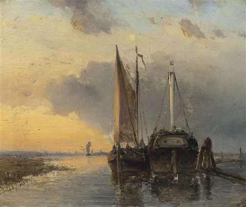 harbour on a dutch river by johan barthold jongkind