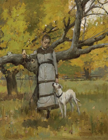 young girl with dog by theodore robinson