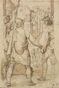 taddeo returns to rome escorted by drawing and spirit towards the three graces by federico zuccaro
