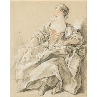 elegant woman with head turned to right by françois boucher