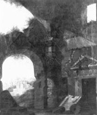 scène de ruines romaines sur fond de paysage by amedee bourgeois