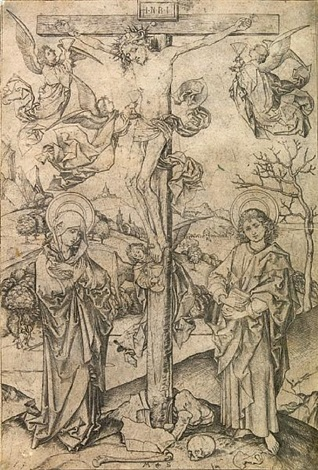 the crucifixion with four angels by martin schongauer