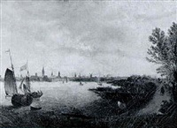 a river landscape with dutch shipping and a horseman on a path in the foreground, a city beyond by abraham de verwer
