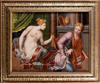joseph et la femme de putiphar (in 3 parts) by jan van scorel