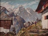 gehöft im hochgebirge mit blick auf den wilden kaiser by maximilian strasky
