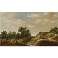 a dune landscape with a peasant woman and child on a path, farm houses beyond by joachim govertsz camphuysen