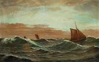 marine with sailing ships at high seas by carl (jens erik c.) rasmussen