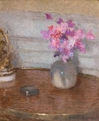 vase de fleurs au guéridon by ernest joseph laurent
