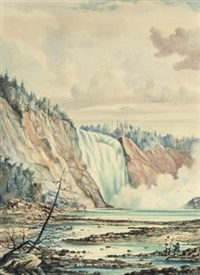 a waterfall, with the artist sketching in the foreground by william armstrong