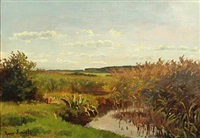 landscape by a lake at summertime by hans ludvig smidth