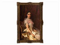 portrait of a seated lady by konstantin egorovich makovsky