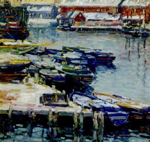 docks in winter by charles salis kaelin
