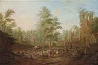 a view of a village scene with figures at their daily activities by mathys schoevaerdts