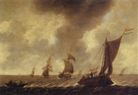 a wijdschip sailing before the wind with fishermen in a rowing boat, other shipping beyond, in choppy waters by julius porcellis