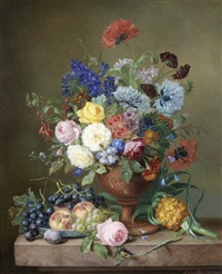 a vase of mixed flowers and fruit on a marble ledge by adriana van ravenswaay