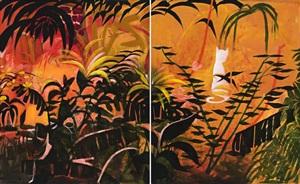 red garden (diptych) by charles blackman