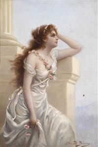 eine junge frau mit rosen bekränzte schönheit by edouard bisson